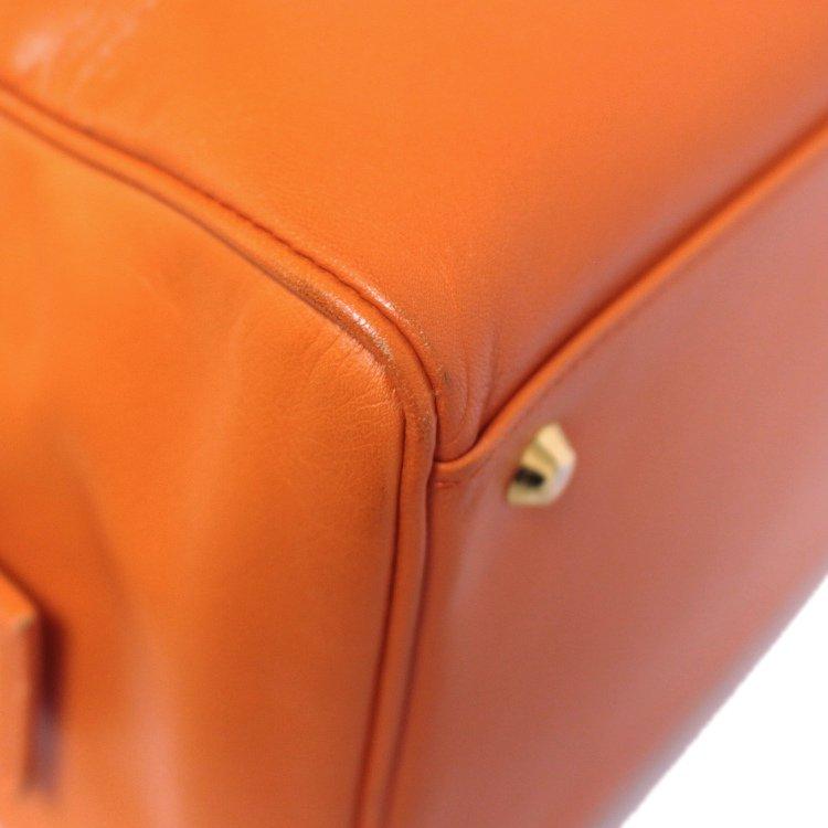 YSL イヴサンローラン ヴィンテージ<br>レザーハンドバッグ オレンジ