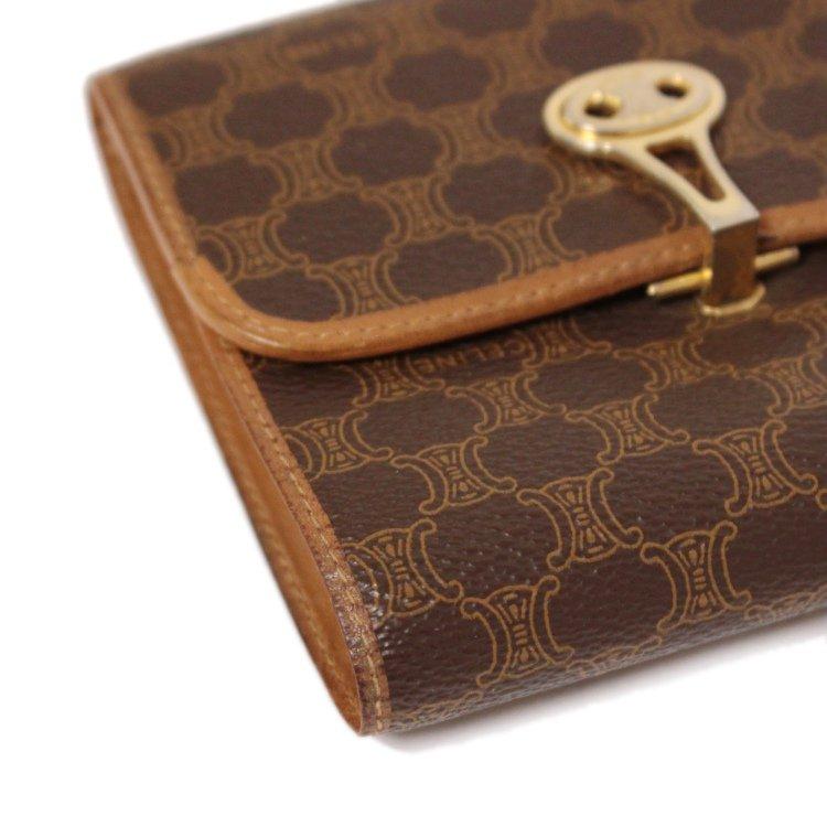 CELINE セリーヌ ヴィンテージ<br>ブラゾンクリップマカダム柄二つ折り財布