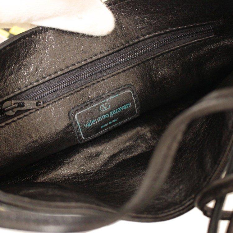 VALENTINO ヴァレンティノ ヴィンテージ<br>イントレチャートレザーショルダーバッグ