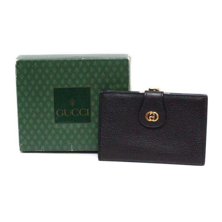 GUCCI グッチ ヴィンテージ<br>GGレザーがま口二つ折り財布