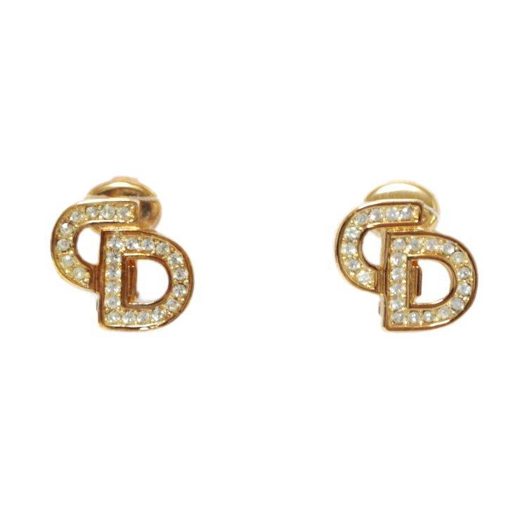 Dior ディオール ヴィンテージ<br>ロゴラインストーンゴールドイヤリング