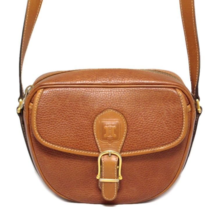 CELINE セリーヌ ヴィンテージ<br>ブラゾンレザーショルダーバッグ キャメル
