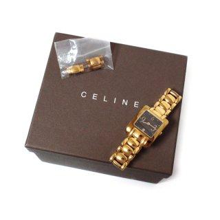 CELINE セリーヌ ヴィンテージ<br>スクエアゴールドQZ腕時計