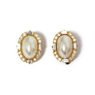 Dior ディオール ヴィンテージ<br>フェイクパール×ラインストーンイヤリング