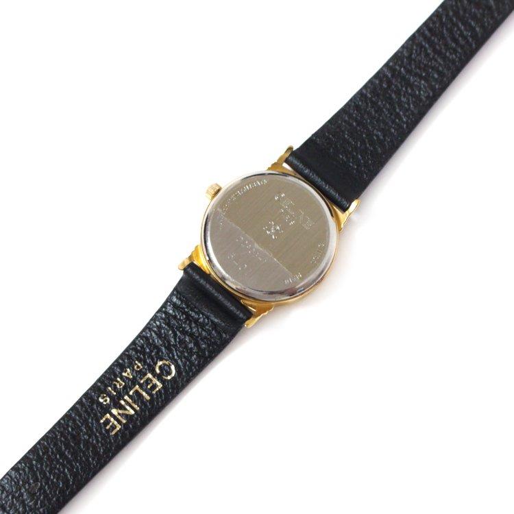 CELINE セリーヌ ヴィンテージ<br>シェル×レザーベルトQZ腕時計 ブラック