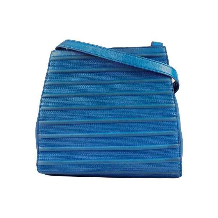 LOEWE ロエベ ヴィンテージ<br>ステッチレザーショルダーバッグ ブルー