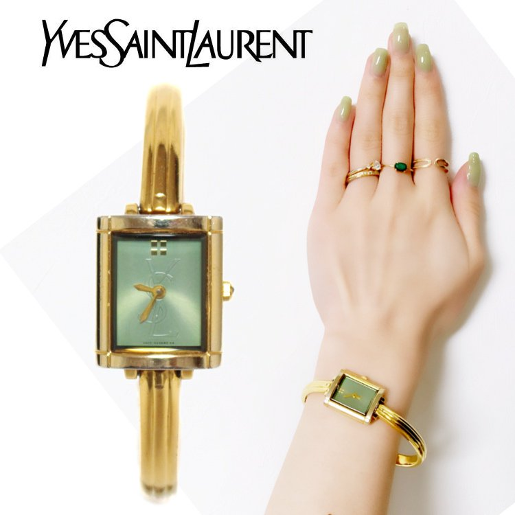 YSL イヴサンローラン ヴィンテージ<br>スクエアロゴバングルQZ腕時計 グリーン