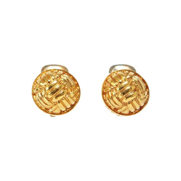 CELINE セリーヌ ヴィンテージ<br>ゴールドロゴデザインイヤリング