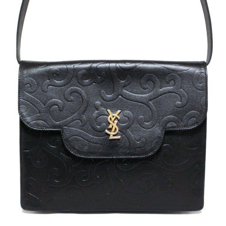 YSL イヴサンローラン ヴィンテージ<br>唐草スクエアロゴレザーショルダーバッグ