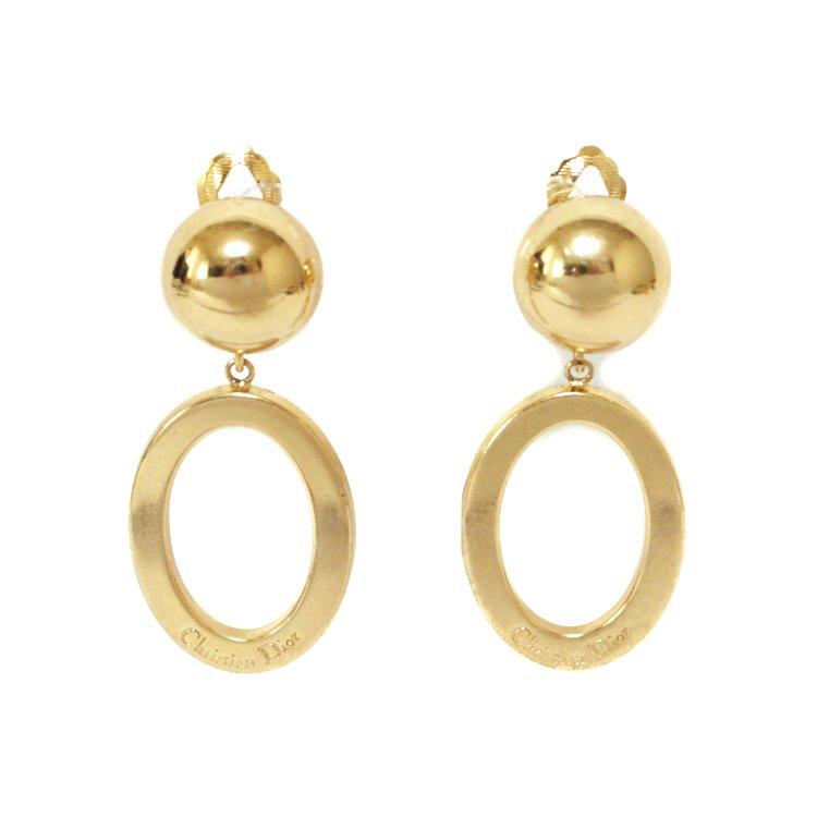 Dior ディオール ヴィンテージ<br>ロゴオバールスウィングイヤリング
