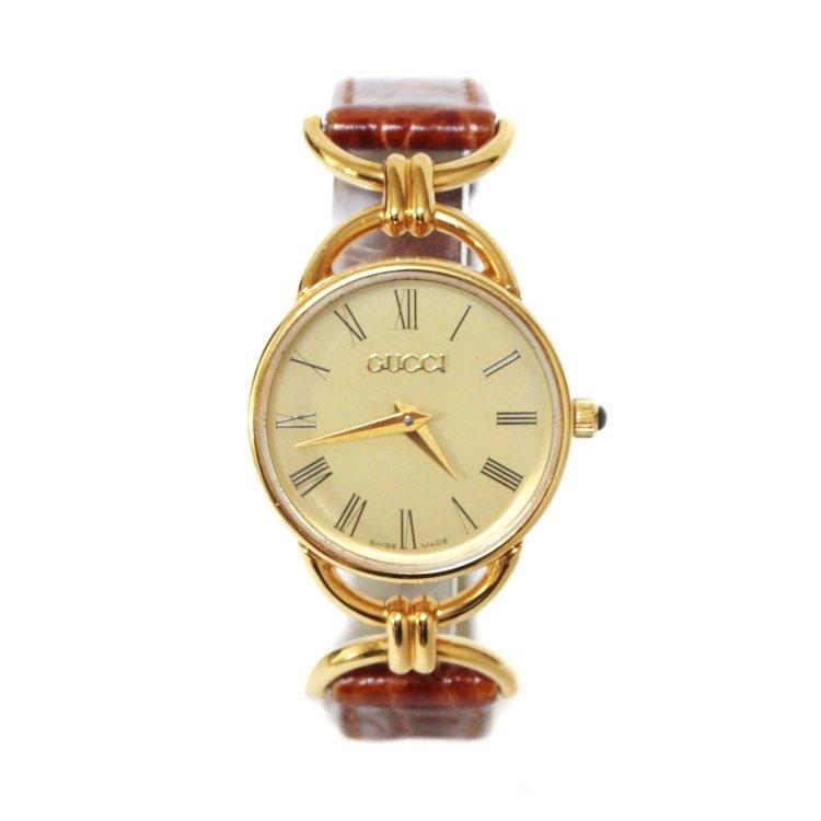 GUCCI グッチ ヴィンテージ<br>レザーベルトQZ腕時計 6000.2.L ブラウン