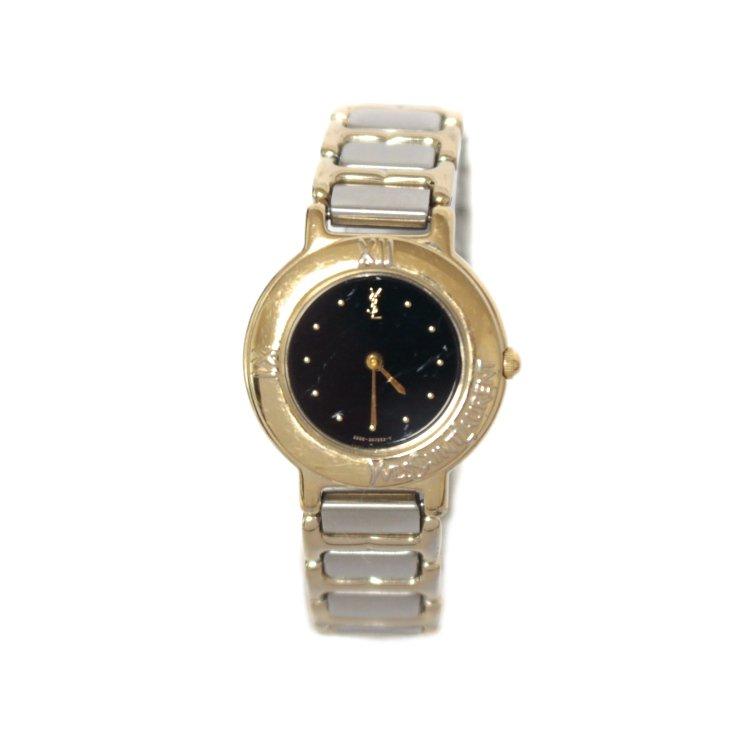 YSL イヴサンローラン ヴィンテージ<br>コンビカラーQZ腕時計 ブラック