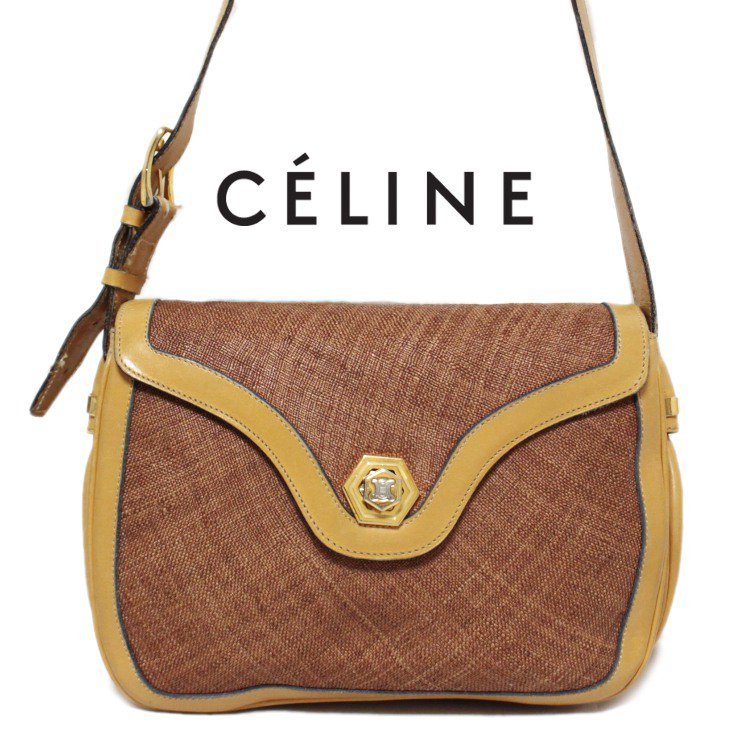 CELINE セリーヌ ヴィンテージ<br>ブラゾンバイカラーショルダーバッグ