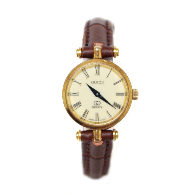 GUCCI グッチ ヴィンテージ<br>シェリーラインQZ腕時計 ブラウン