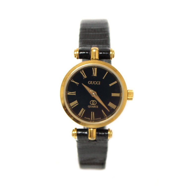 GUCCI グッチ ヴィンテージ<br>シェリーラインレザーベルトQZ腕時計 ブラック