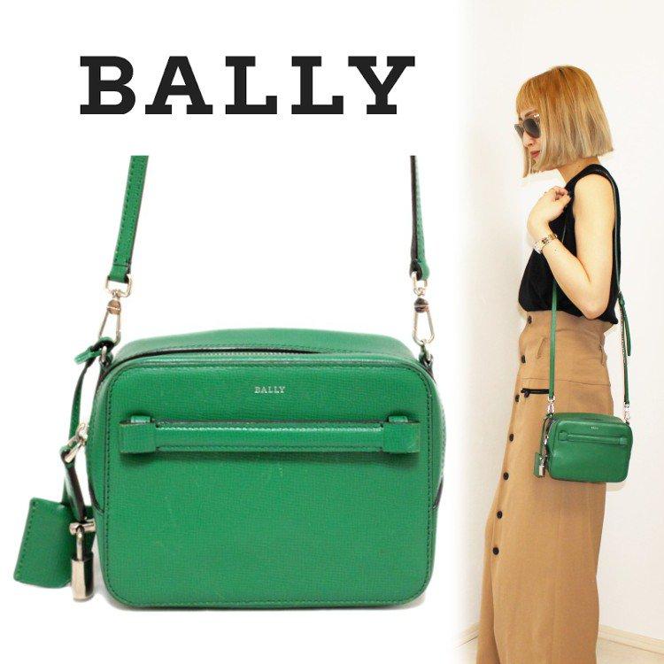 BALLY バリー ヴィンテージ<br>コンパクトレザーショルダーバッグ グリーン