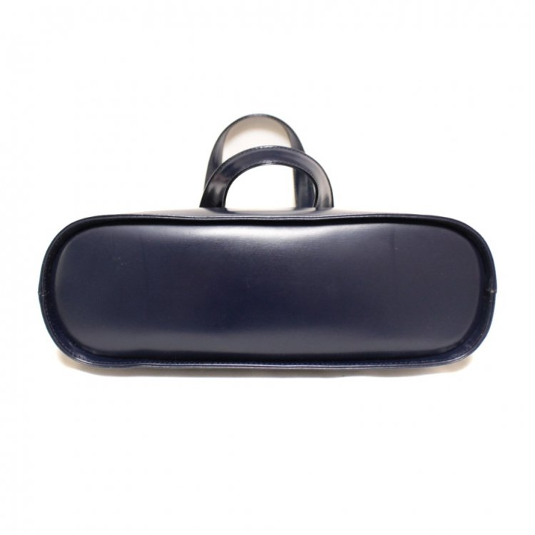 YSL イヴサンローラン ヴィンテージ<br>ロゴチャーム付ハンドバッグ ネイビー