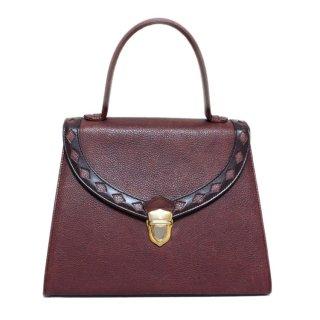 YSL イヴサンローラン ヴィンテージ<br>ダイヤカットレザーハンドバッグ