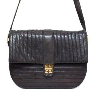 GIVENCHY ジバンシー ヴィンテージ<br>ロゴ金具×ステッチショルダーバッグ ブラック