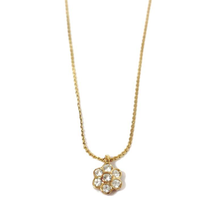 Dior ディオール ヴィンテージ<br>ラインストーンフラワーモチーフネックレス