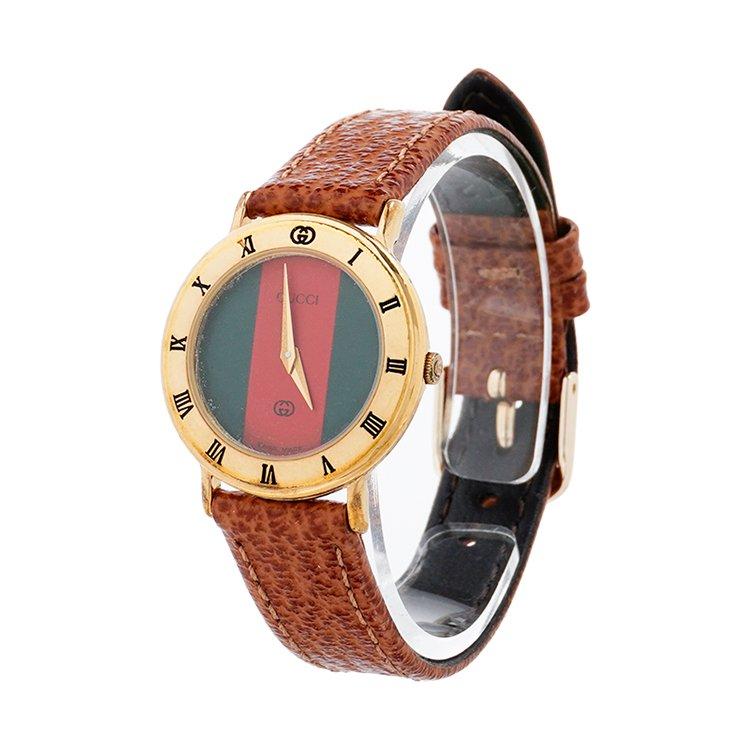 GUCCI グッチ ヴィンテージ<br>シェリー配色レザーベルトQZ腕時計
