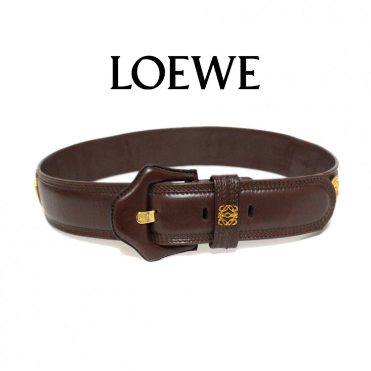 LOEWE ロエベ ヴィンテージ<br>ロゴレザーベルト ブラウン