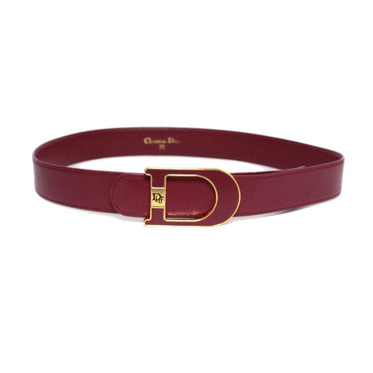 Dior ディオール ヴィンテージ<br>ロゴレザーベルト 75 ボルドー