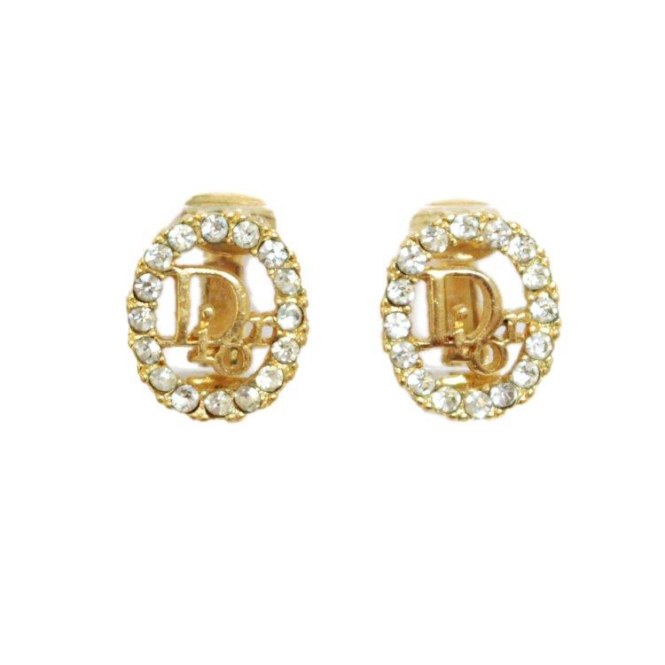 Dior ディオール ヴィンテージ<br>ラインストーンロゴイヤリング オバール