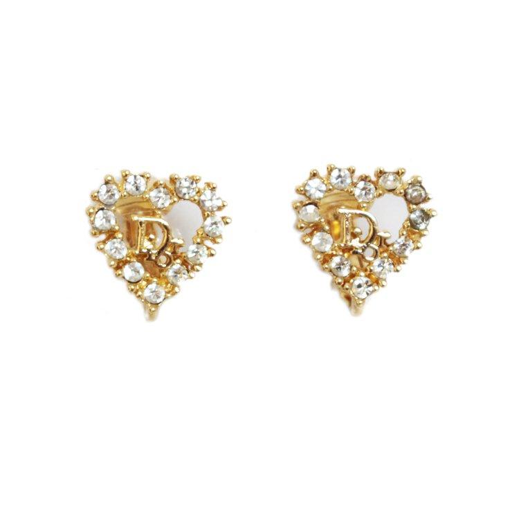 Dior ディオール ヴィンテージ<br>ハートモチーフラインストーンロゴイヤリング