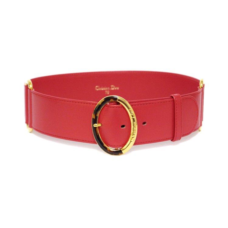 Dior ディオール ヴィンテージ<br>べっ甲×ロゴオバールモチーフベルト レッド