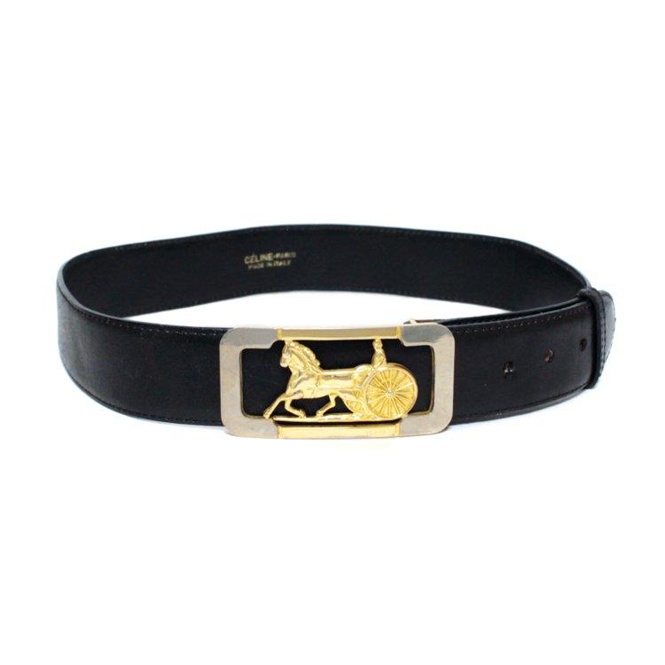 CELINE セリーヌ ヴィンテージ<br>ホースキャリッジレザーベルト ブラック 65