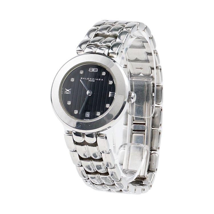 BALENCIAGA バレンシアガ ヴィンテージ<br>シルバーラインストーンQZ腕時計