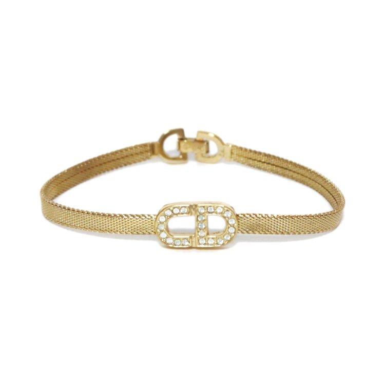 Dior ディオール ヴィンテージ<br>ロゴラインストーンブレスレット