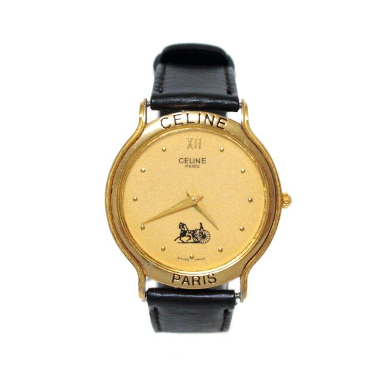 CELINE セリーヌ ヴィンテージ<br>ホースキャリッジレザーベルトQZ腕時計