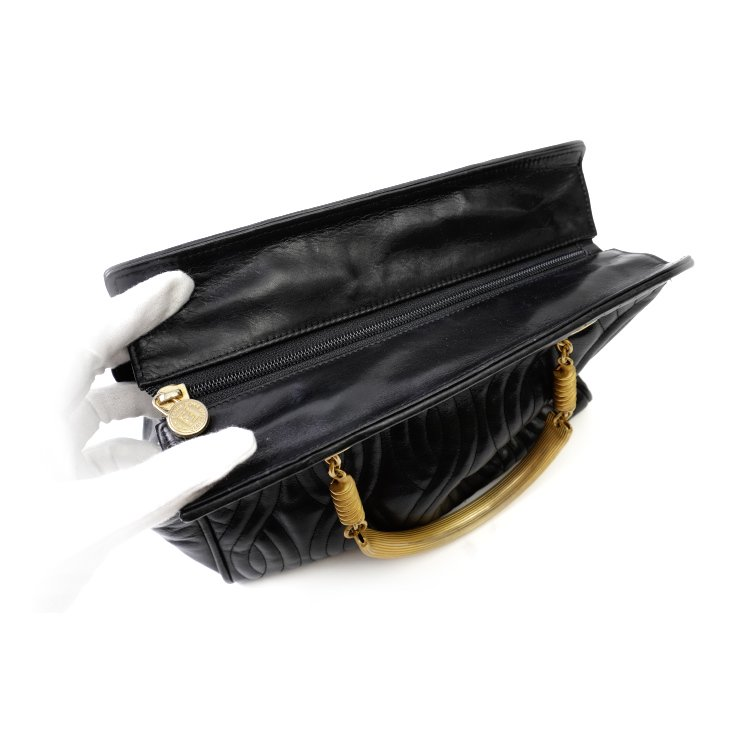 FENDI フェンディ ヴィンテージ<br>ウェーブステッチレザーハンドバッグ ブラック