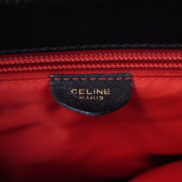 CELINE セリーヌ ヴィンテージ<br>2wayサークル金具レザーハンドバッグ ブラック