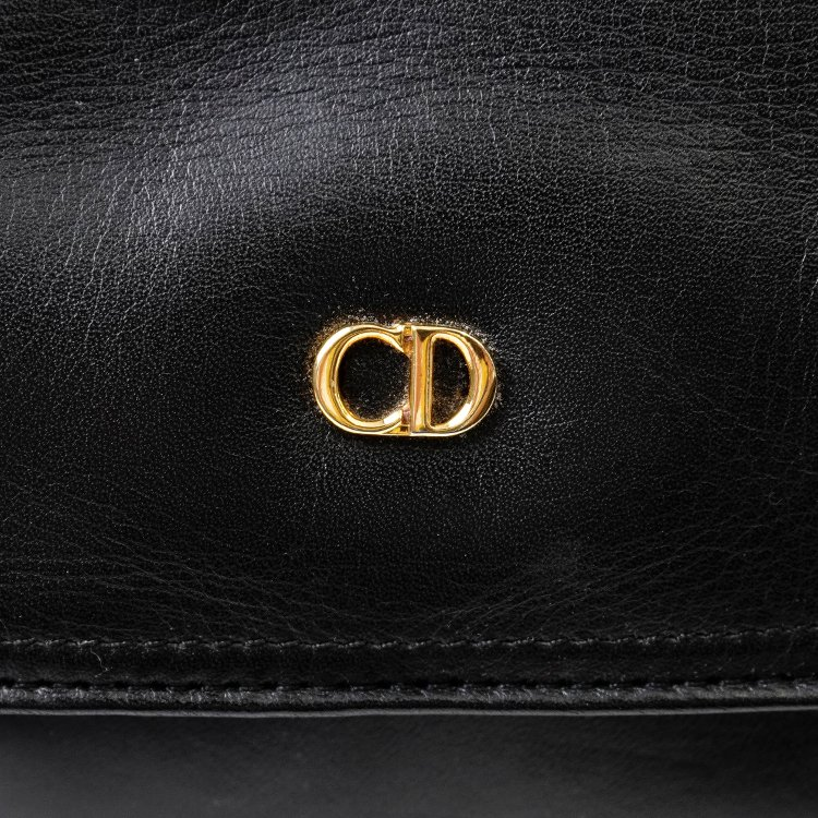 Dior ディオール ヴィンテージ<br>ロゴレザーショルダーバッグ ブラック