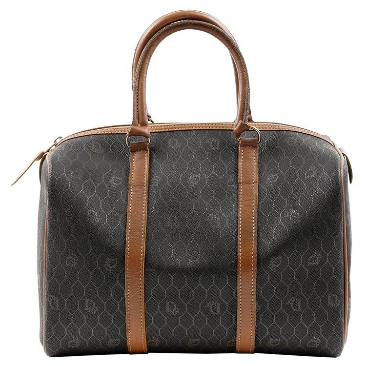 Dior ディオール ヴィンテージ<br>ハニカム柄ボストンバッグ ブラウン