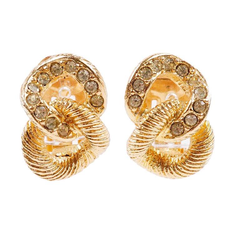 Dior ディオール ヴィンテージ<br>ラインストーンダブルリングイヤリング ゴールド