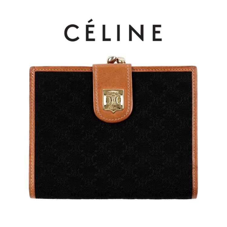 CELINE セリーヌ ヴィンテージ<br>マカダム柄がま口二つ折り財布  ブラック×キャメル