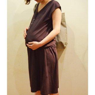産前産後着られる マタニティワンピース(プラム)