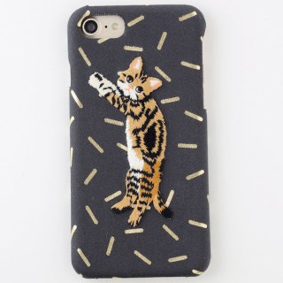 KEORA KEORA(ケオラケオラ)珀プリント刺繍猫i Phone6/6s/7ケースカバー
