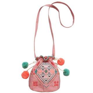 BONHEUR DU JOUR(ボヌール ドゥ ジュール) Sunset ポンポン刺繍バッグ(ピンク)