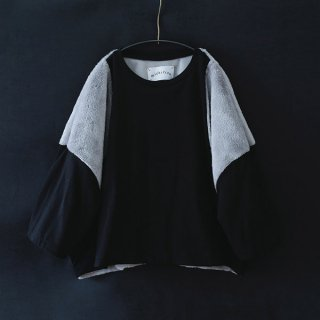 michirico(ミチリコ)ボアT(ブラック&グレー)