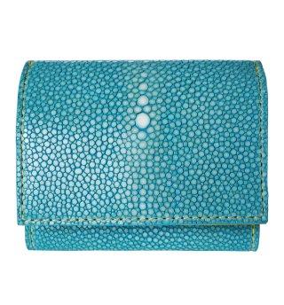 三つ折りミニ財布 ポリッシュ ターコイズブルー
