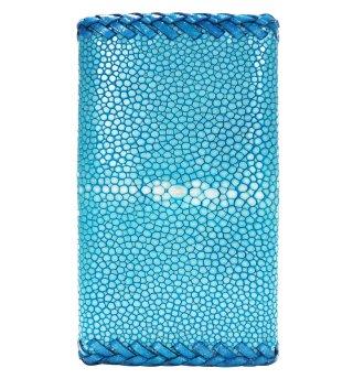 キーケース ポリッシュ ターコイズブルー(ダブルかがり縫い)