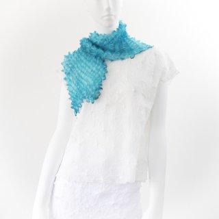 突き出し絞りスカーフ ターコイズブルー