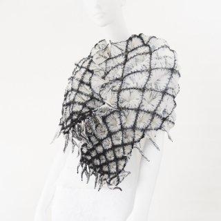 唄絞りスカーフ ブラック&ホワイト