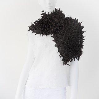 唄絞りスカーフ ブラック&チャコールグレイ