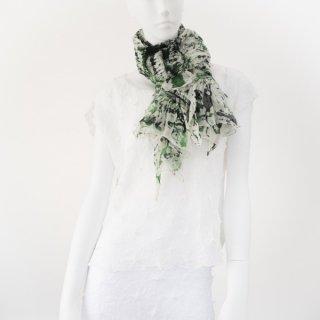 突出し絞りスカーフ ポロック ホワイト&グリーン